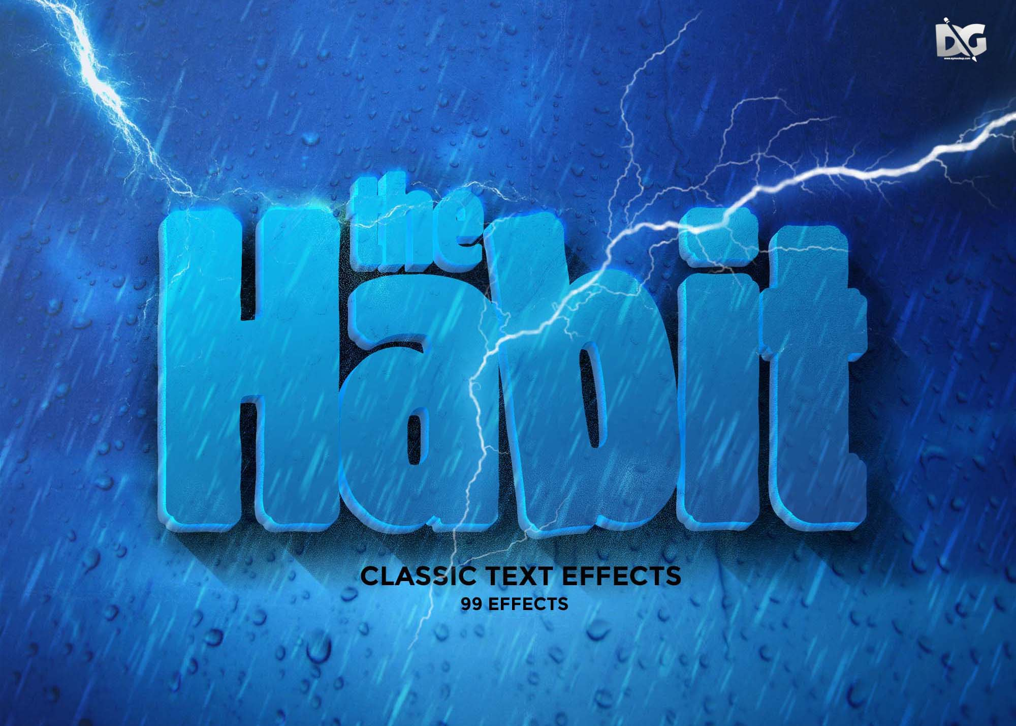 Free Rain Style Text Effects PSD