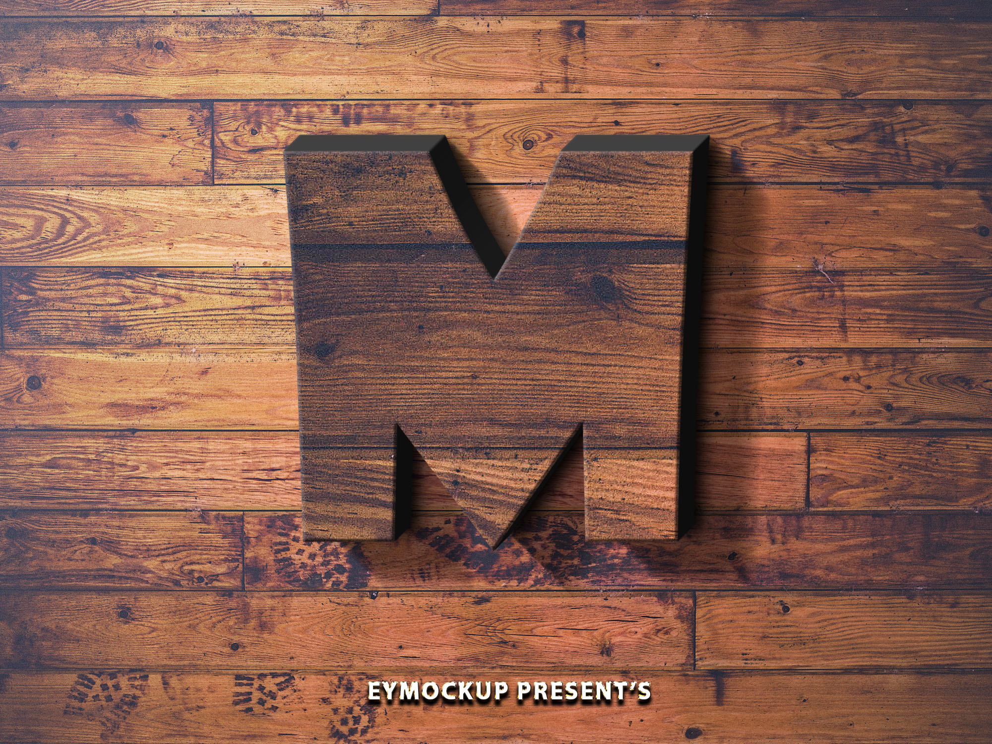 Wooden 3D Text Logo Mockup