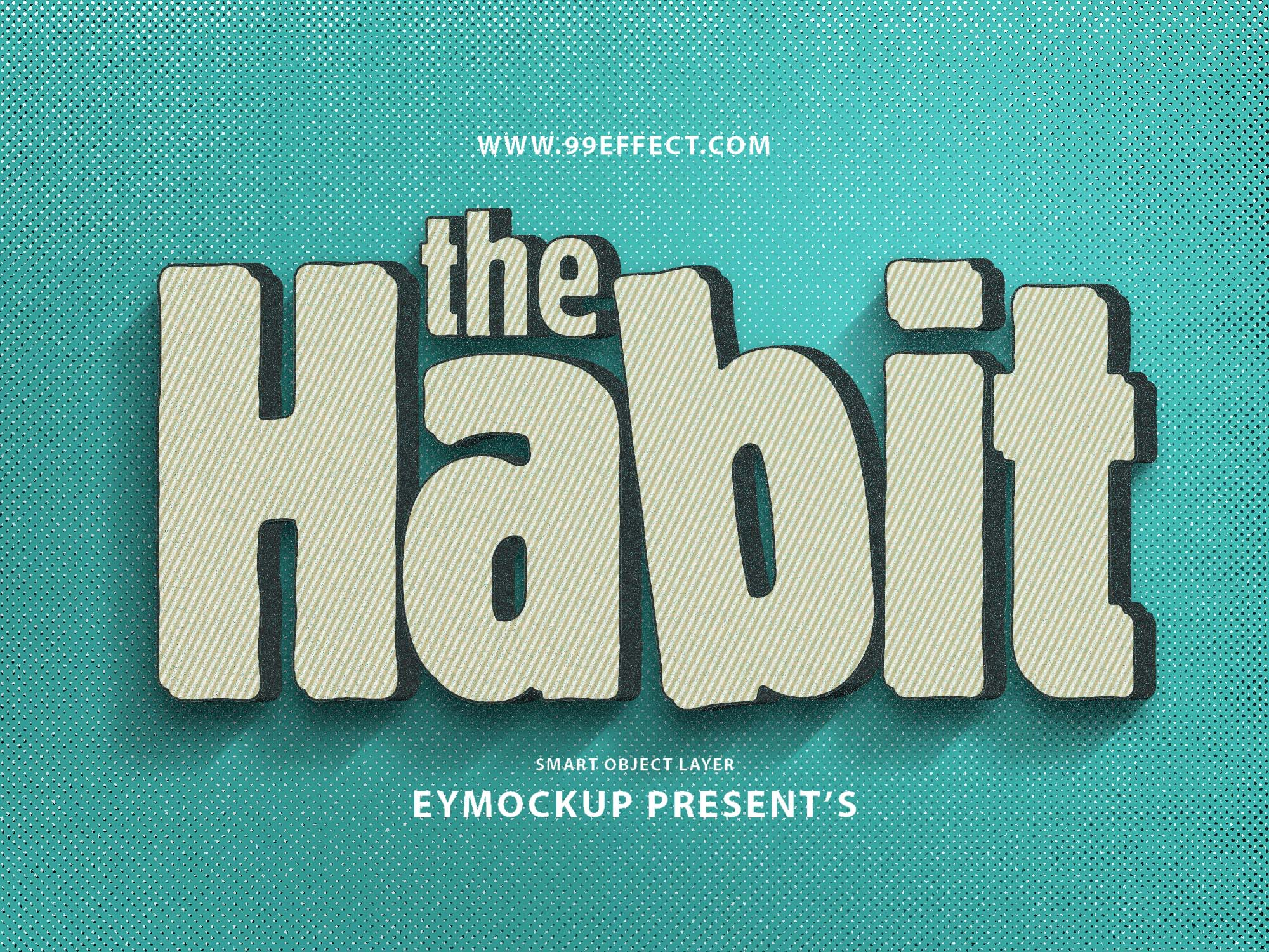 habit 3d text effect psd