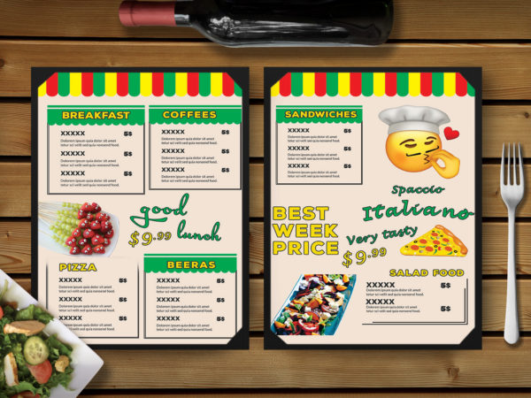 Fun Day Restaurant Menu PSD Template