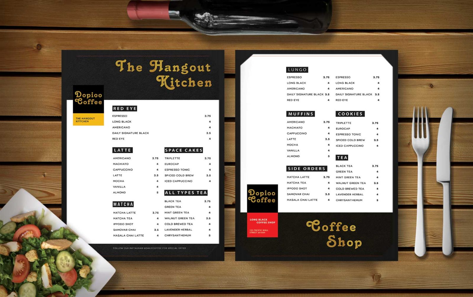 Premium Cafe Shop Both Side Menu Template