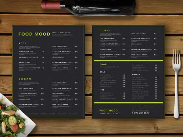 Premium Clean PSD Menu Template
