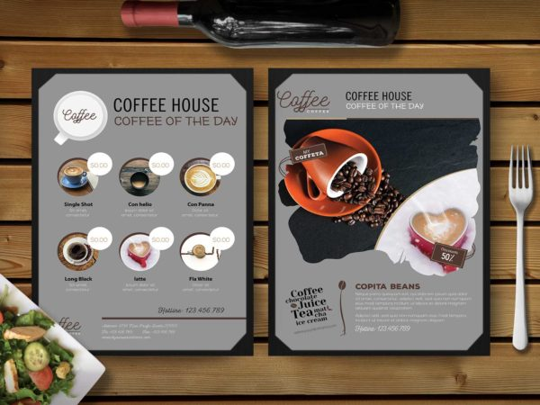 Premium Coffee House PSD Menu Template