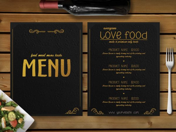 Premium Gold Effect PSD Choco Menu Template