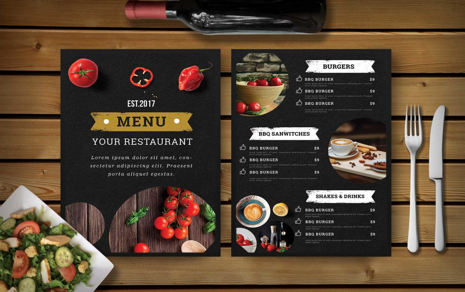 Premium Hotel PSD DInner Menu Template