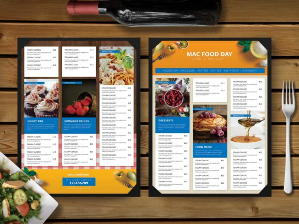 Premium Restaurant Food Snacks Menu Template