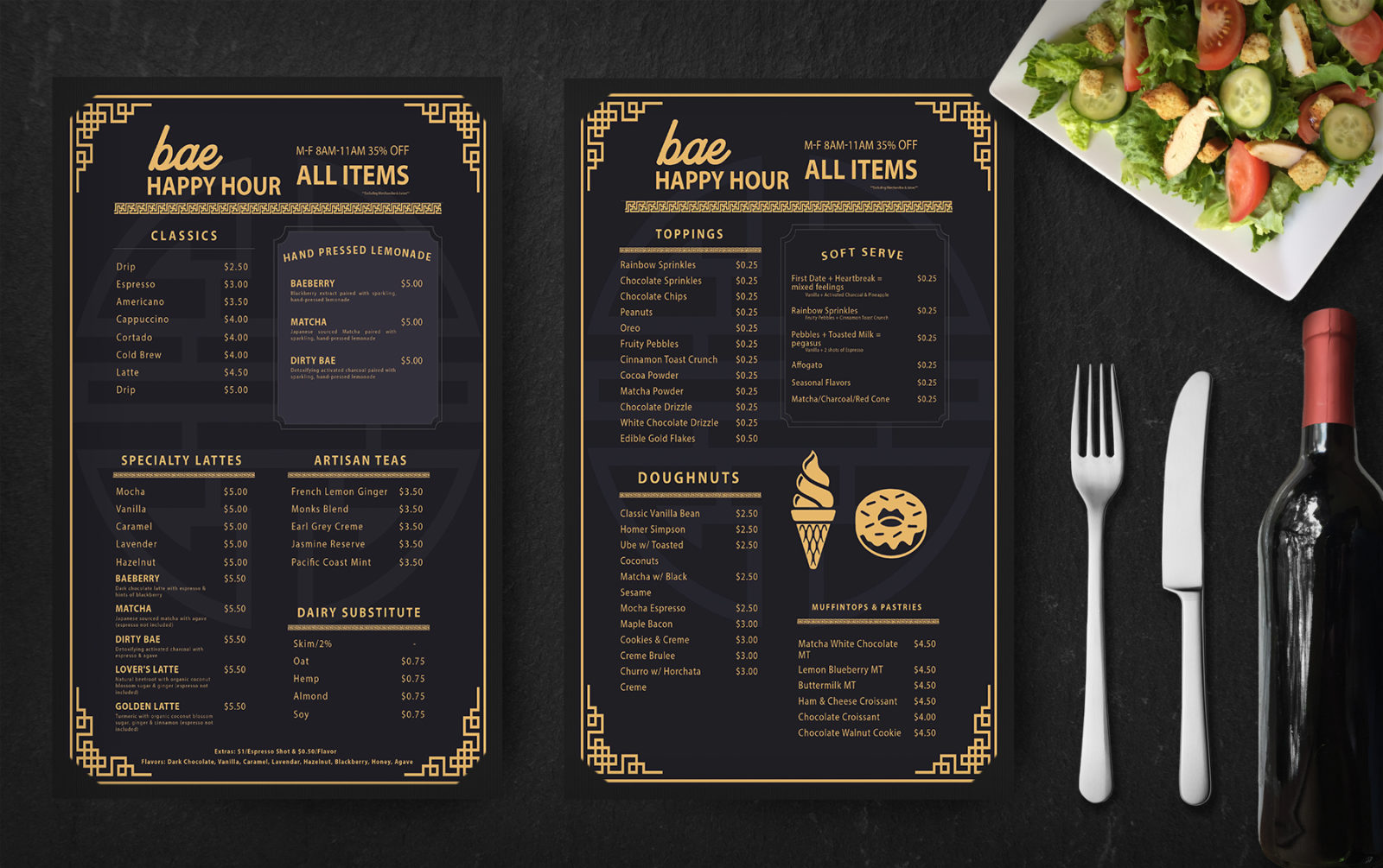 Prime Golden Restaurant Menu PSD Template