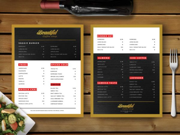 Restaurant Gold Effet PSD Menu Template