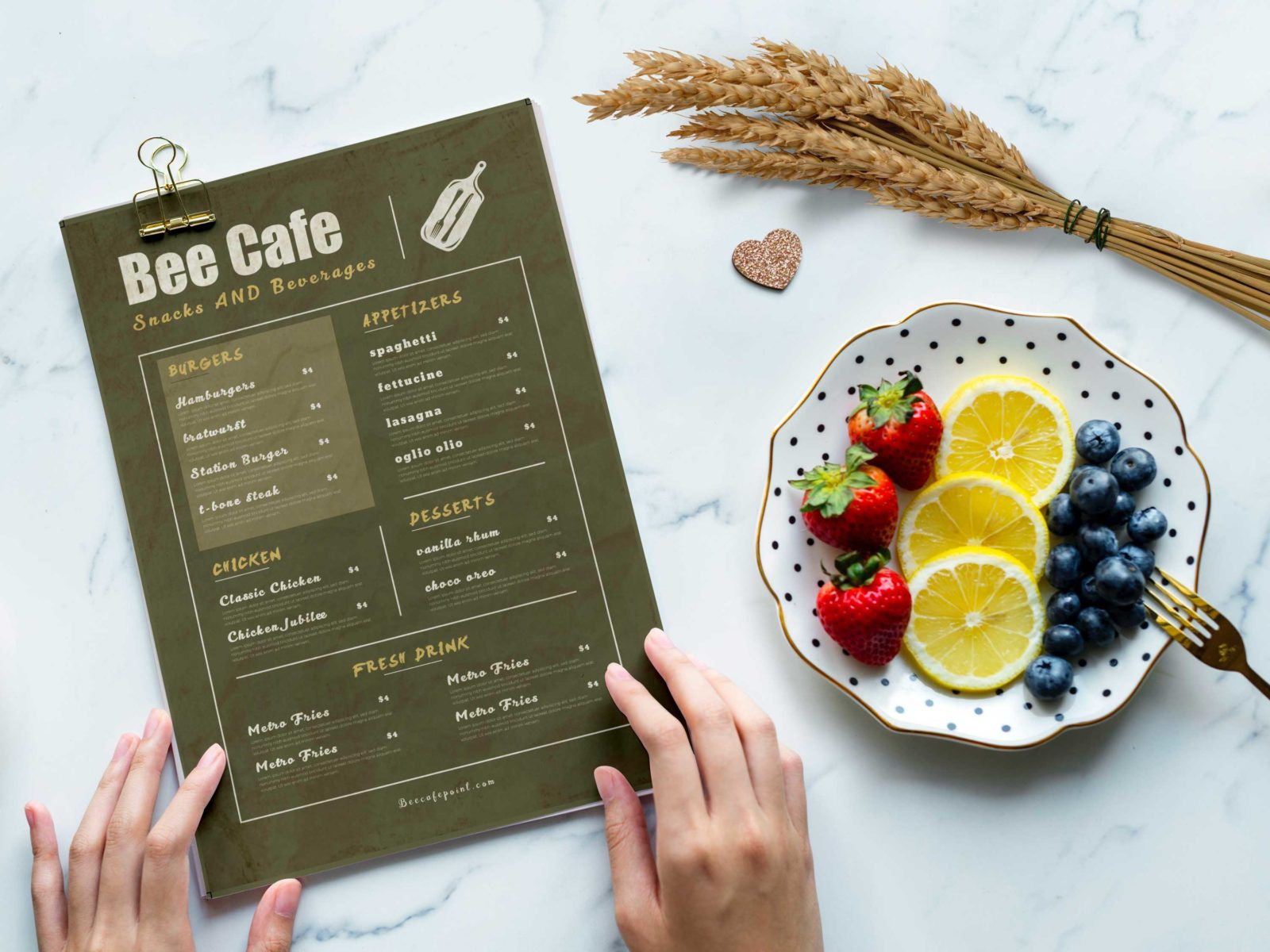Beer Cafe PSD Menu Design