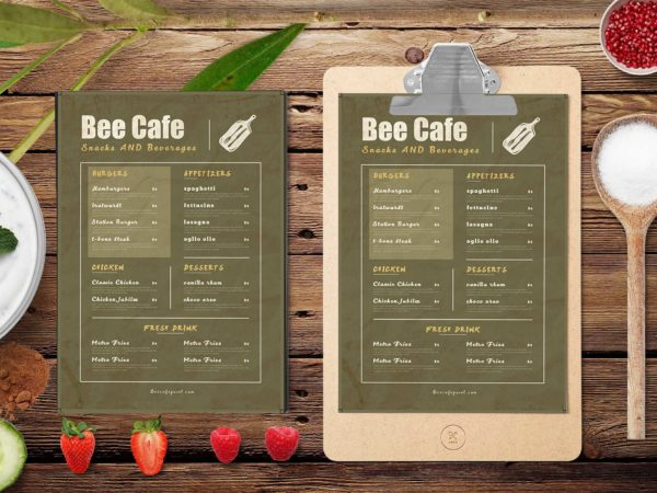 Beer Cafe PSD Menu Design Template