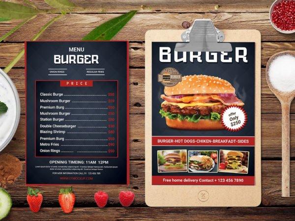 Creative Burger PSD Menu Design Template