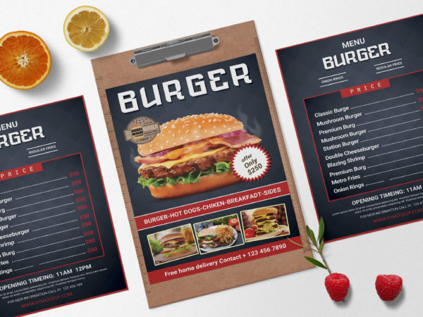 Creative Burger PSD Menu Design Template