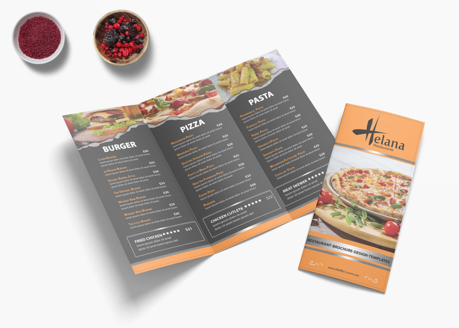 Pizza Cafe Tri Fold Menu Design Template
