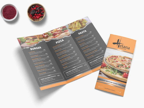Creative Pizza Cafe Tri Fold Menu Design Template