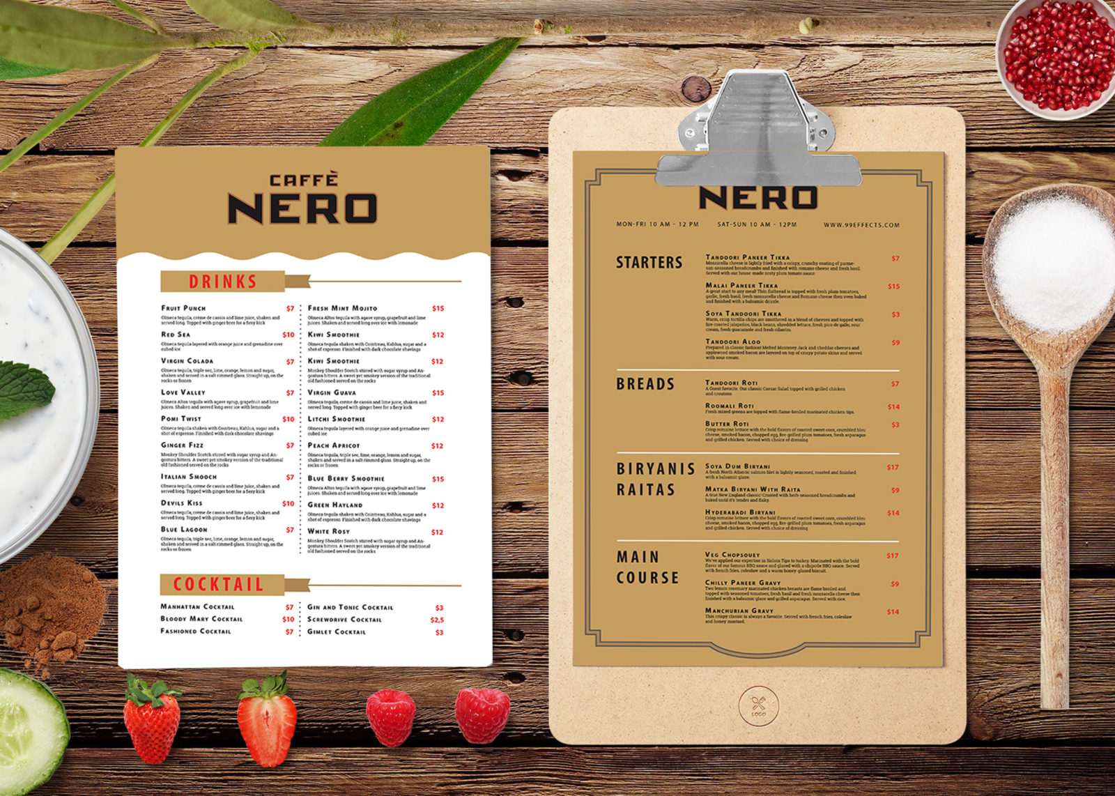 New Continental Style Menu Template