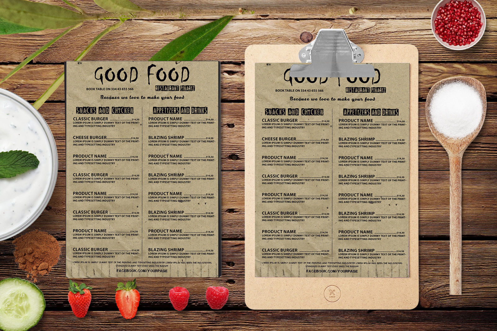 New Good Food A4 Size Menu PSD Template
