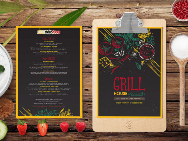 New Grill House Restaurant Menu PSD Template