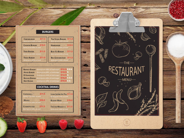 New Italian Burger Cafe Point Menu Template