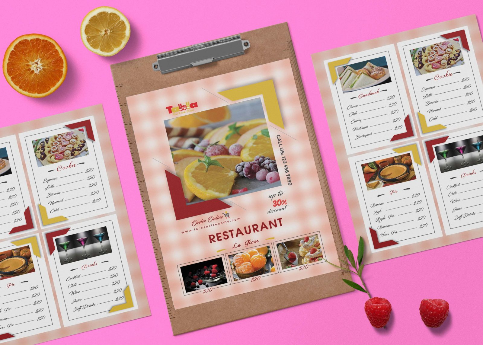 New La Rose PSD Menu Template Design