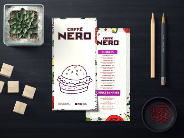 New Nero Burger Cafe PSD Menu Template
