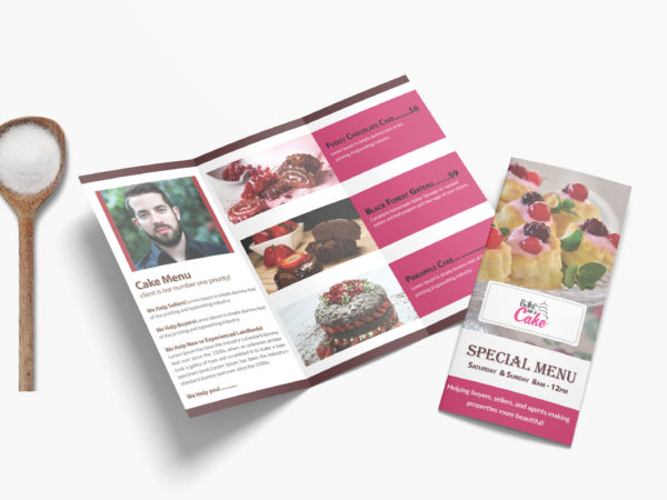 New PSD Cake Shop Tri Fold Menu Design Template