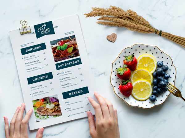 New Palm Food Menu Design Template