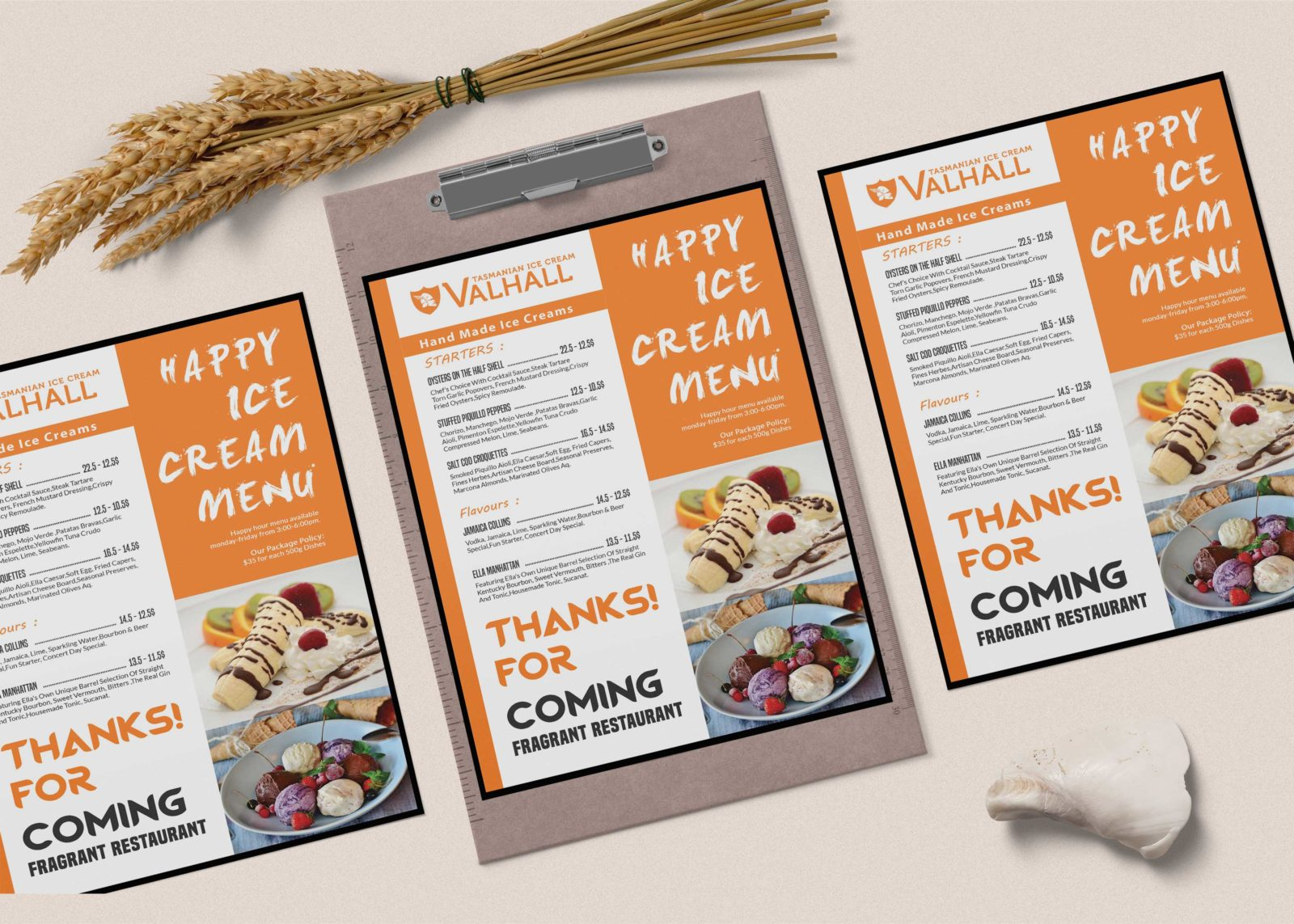New Small Ice Cream A4 Menu PSD Template
