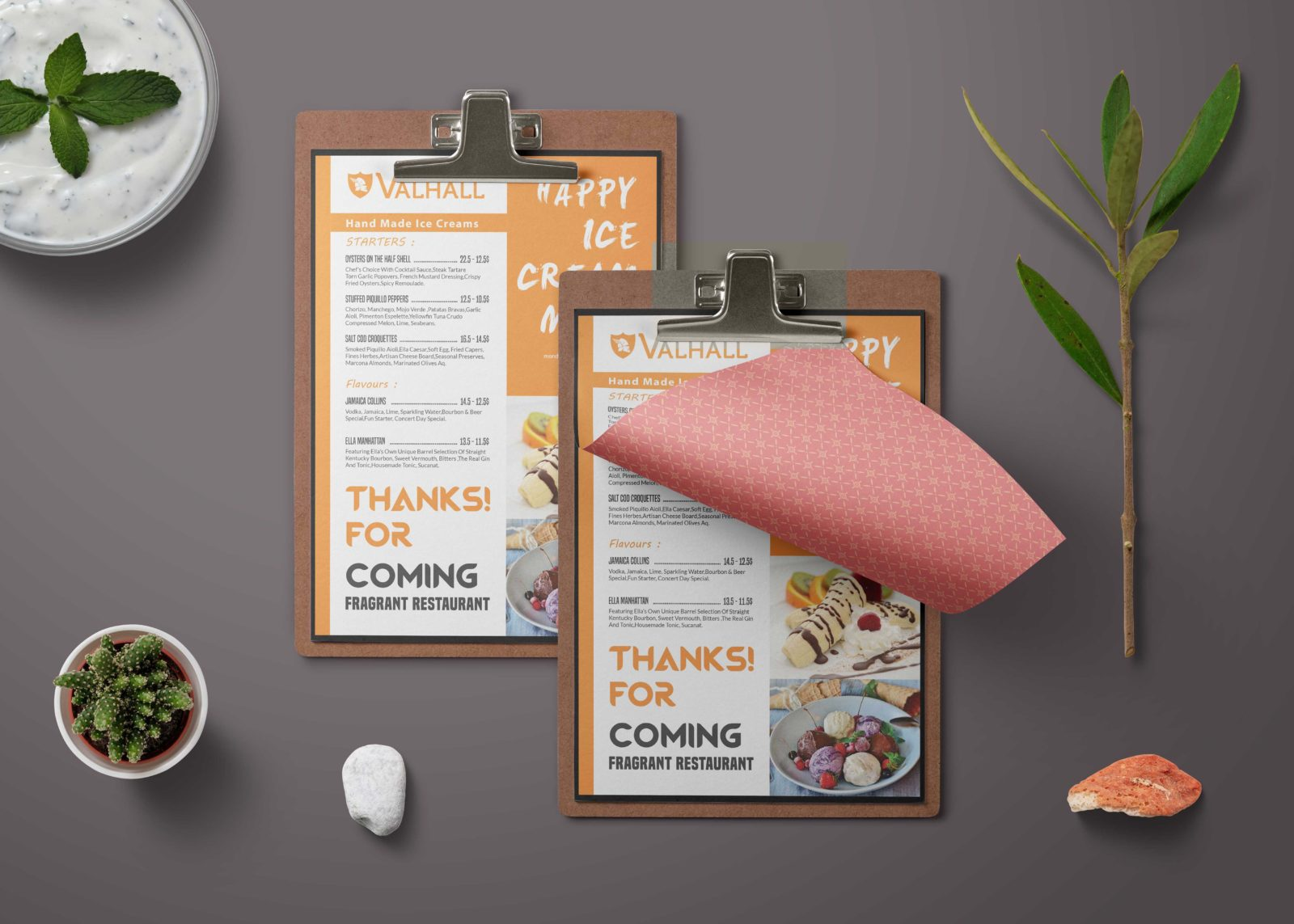 A4 Menu PSD Template