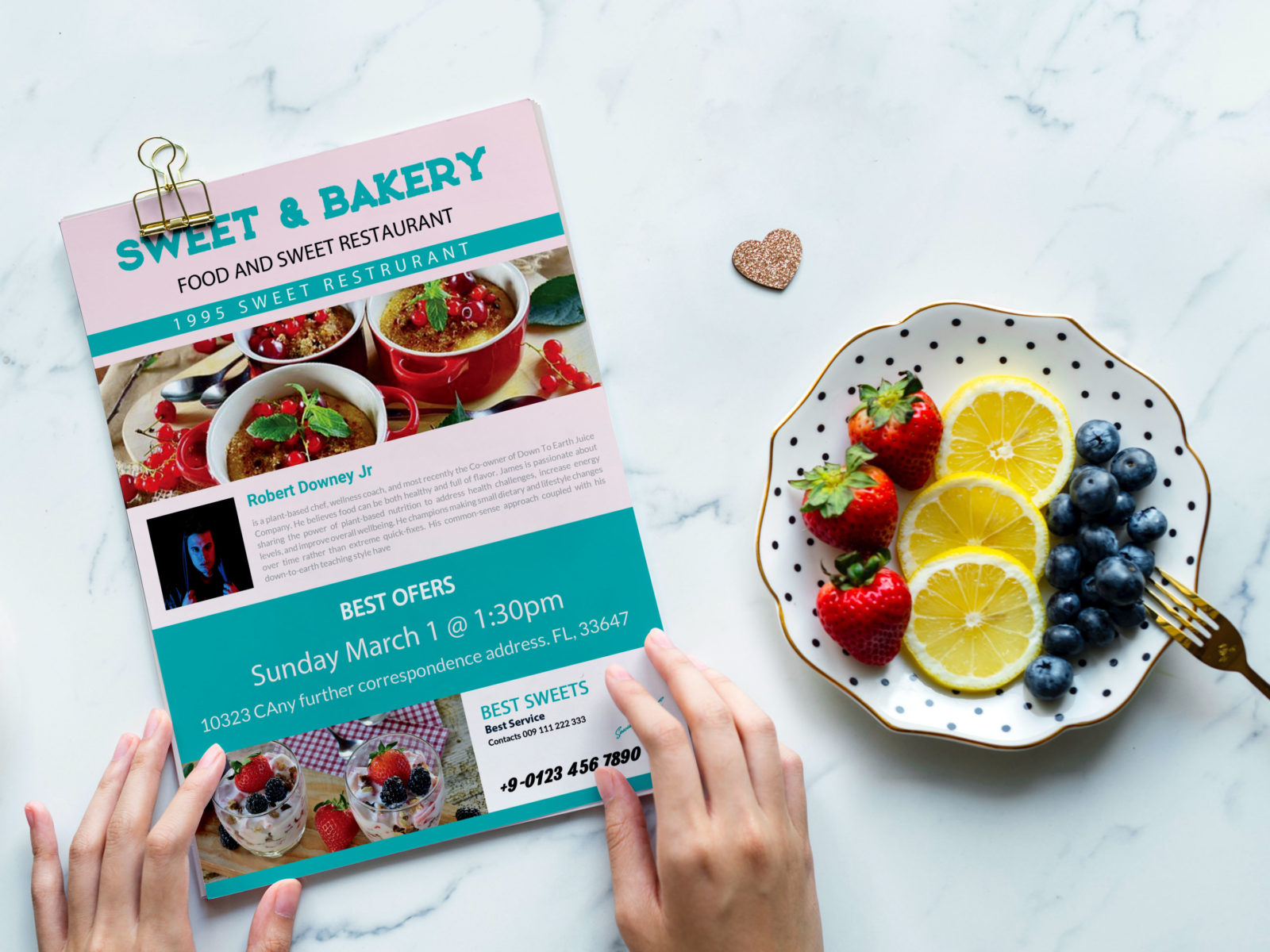 New Sweet Snacks Bakery Menu A4 PSD Template
