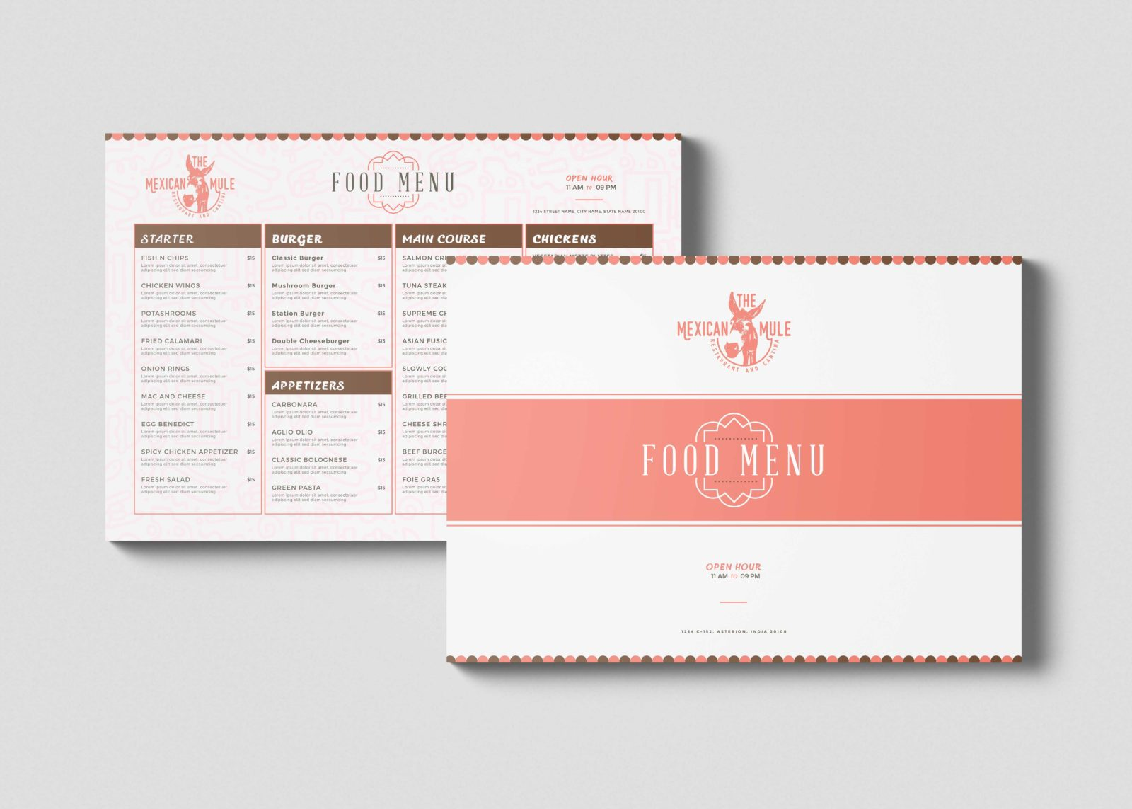 New Valentine Food Menu Template