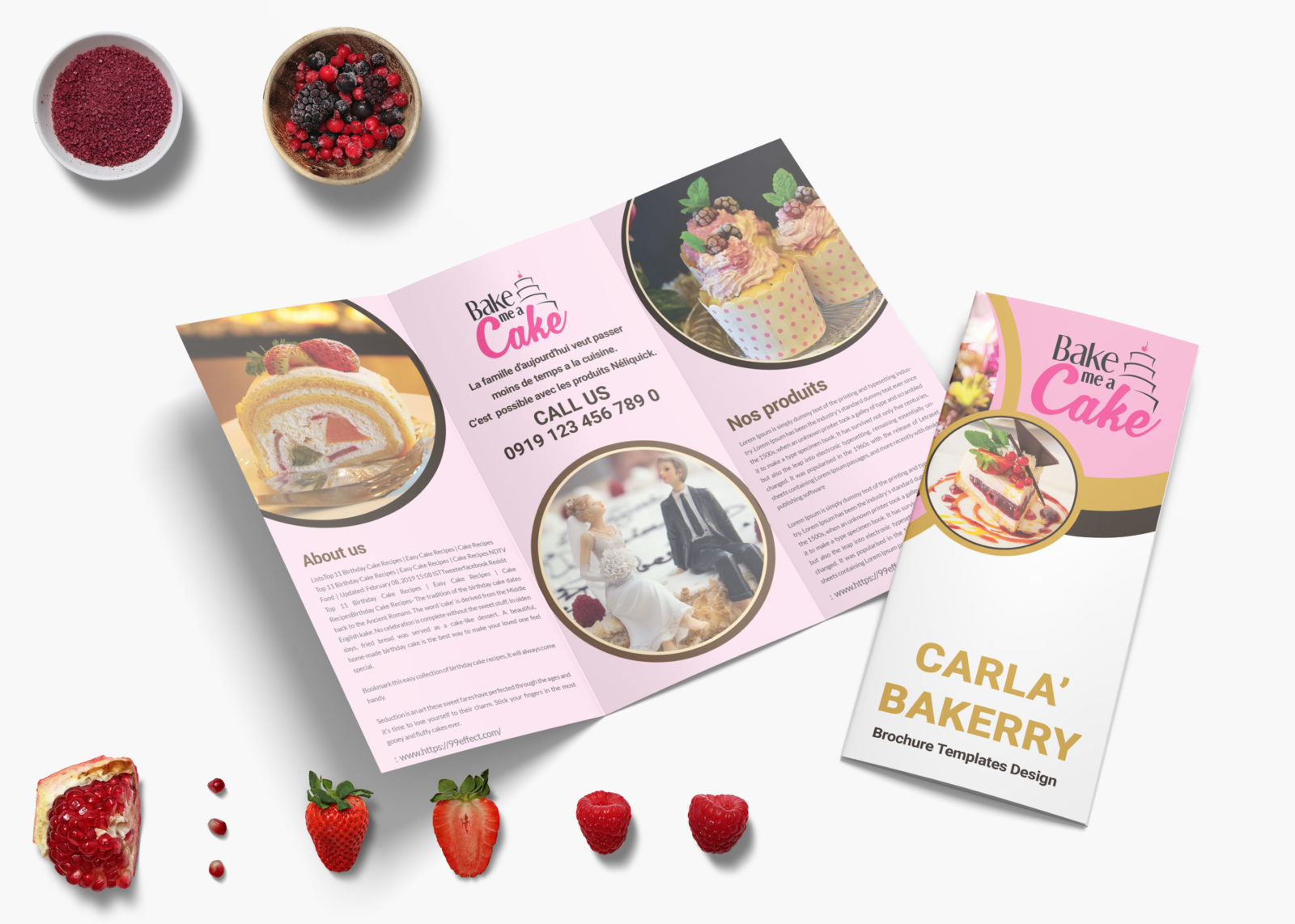 Premium Bakery Trifold Brochure Template