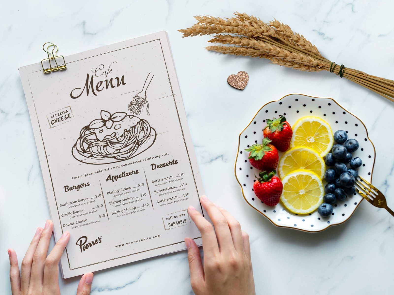 Premium Cafe PSD Menu Design Template