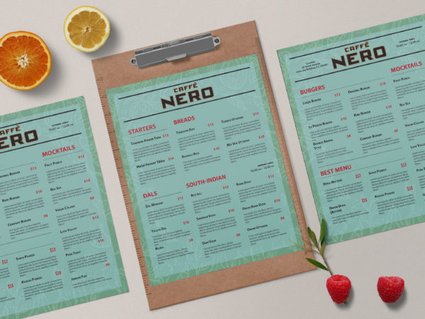 Premium Nero Cafe Menu Design Template