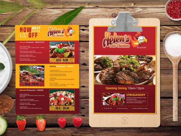 Prime Beef House A4 Menu PSD Template