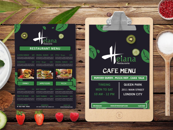 Prime Burger Point A4 Two Page Menu PSD Template