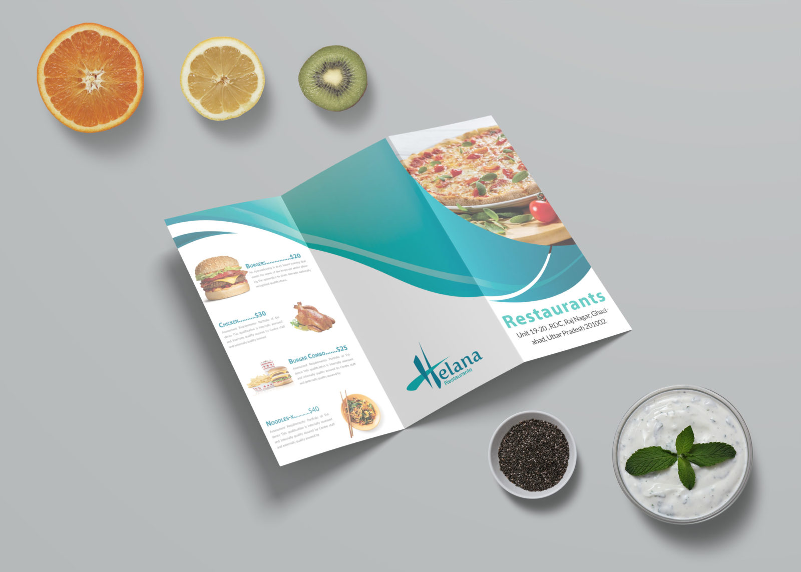 New Pizza Corner Tri Fold Menu Template