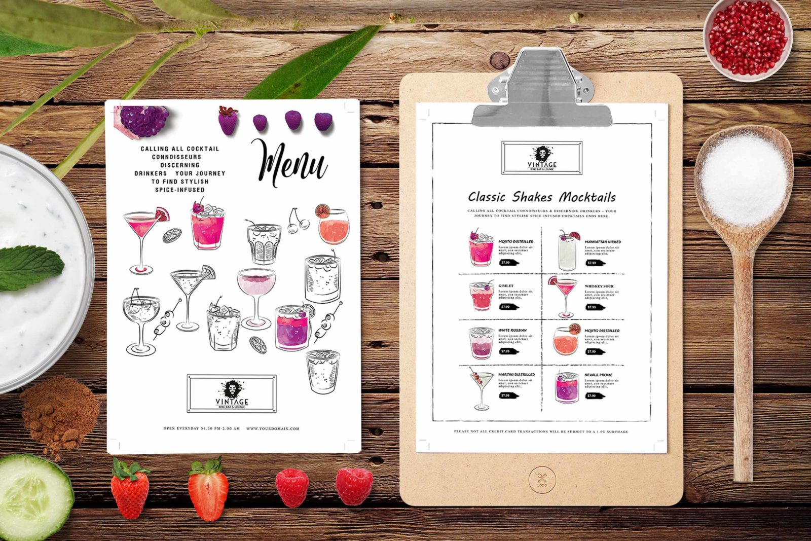 Prime PSD Cafe Lounge Menu Template