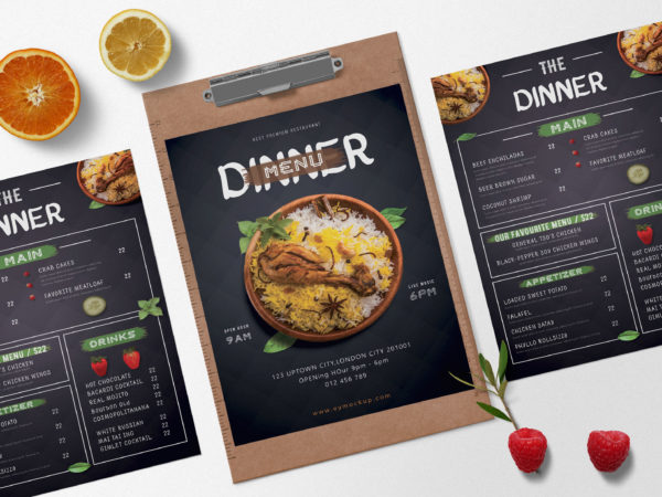 Prime Restaurant Menu Dinner PSD Template