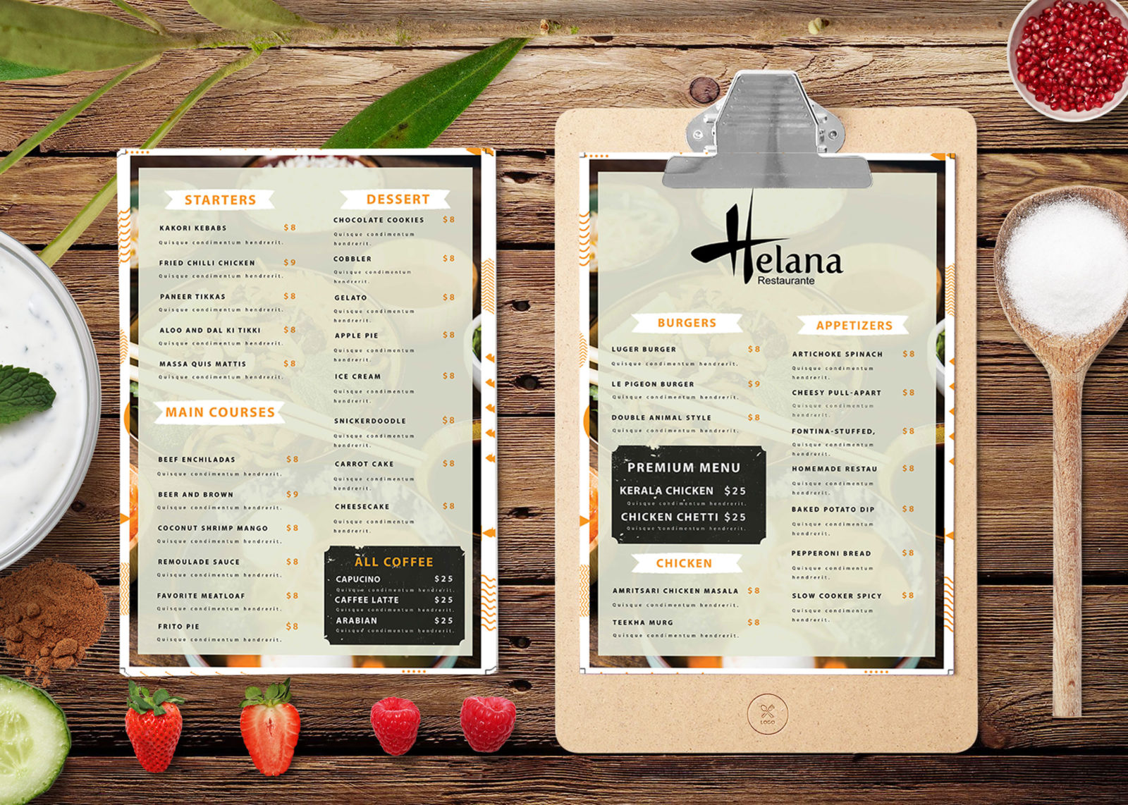 Prime Restaurant Menu PSD Template