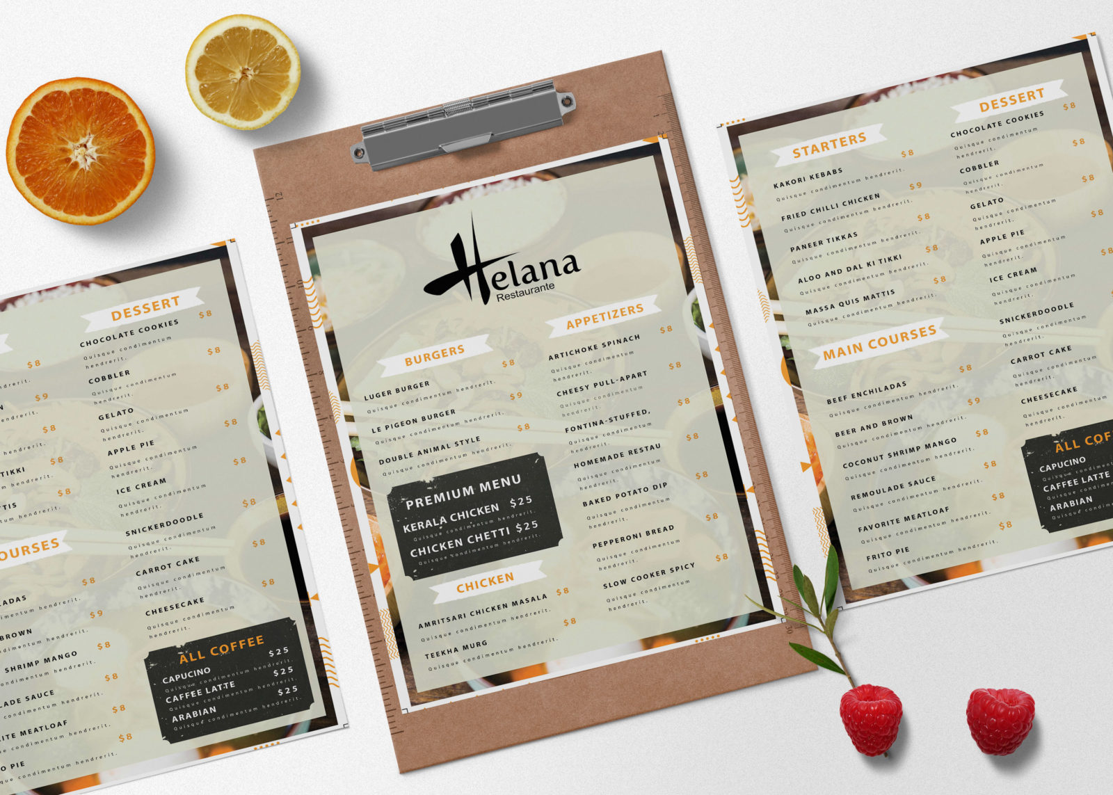 Menu PSD Template