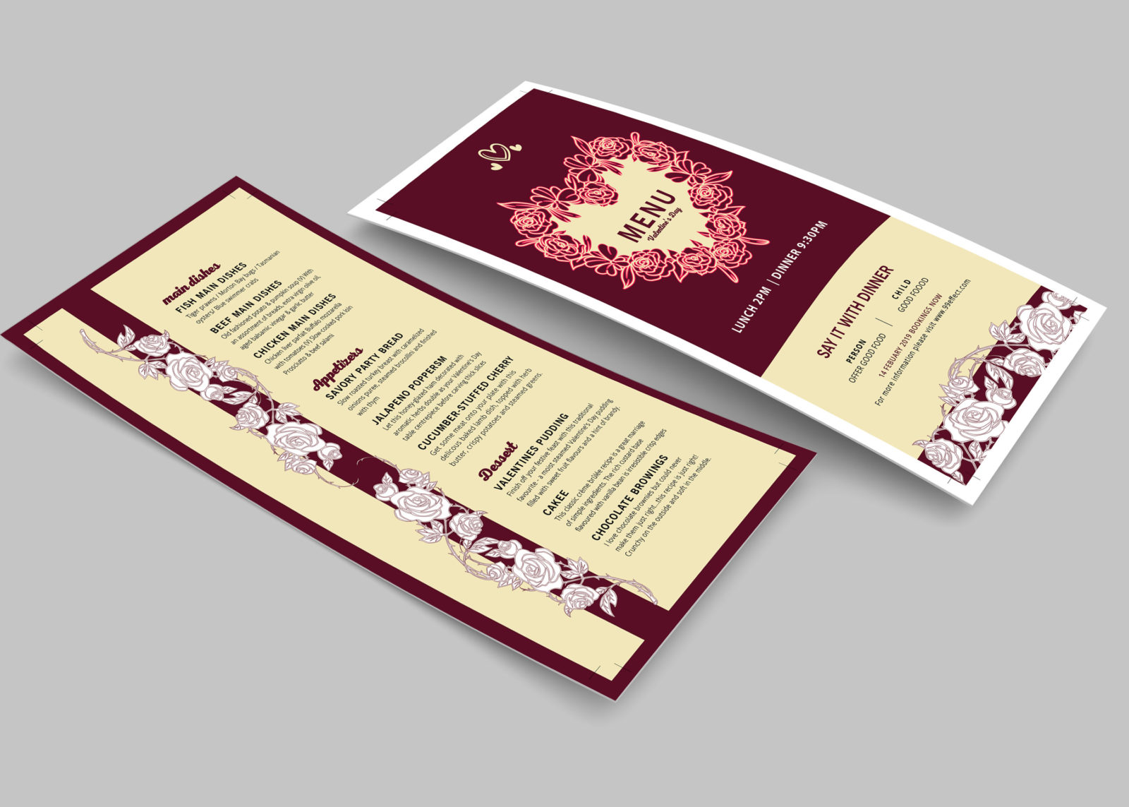 Valentine's Day DL Menu PSD Template