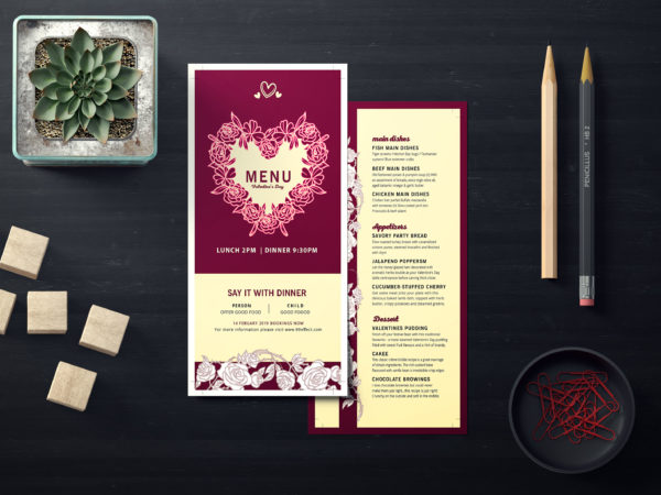 Prime Saint Valentine's Day DL Menu PSD Template