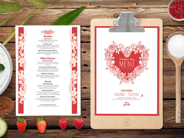 Prime Valentine's Day Dinner Menu Template