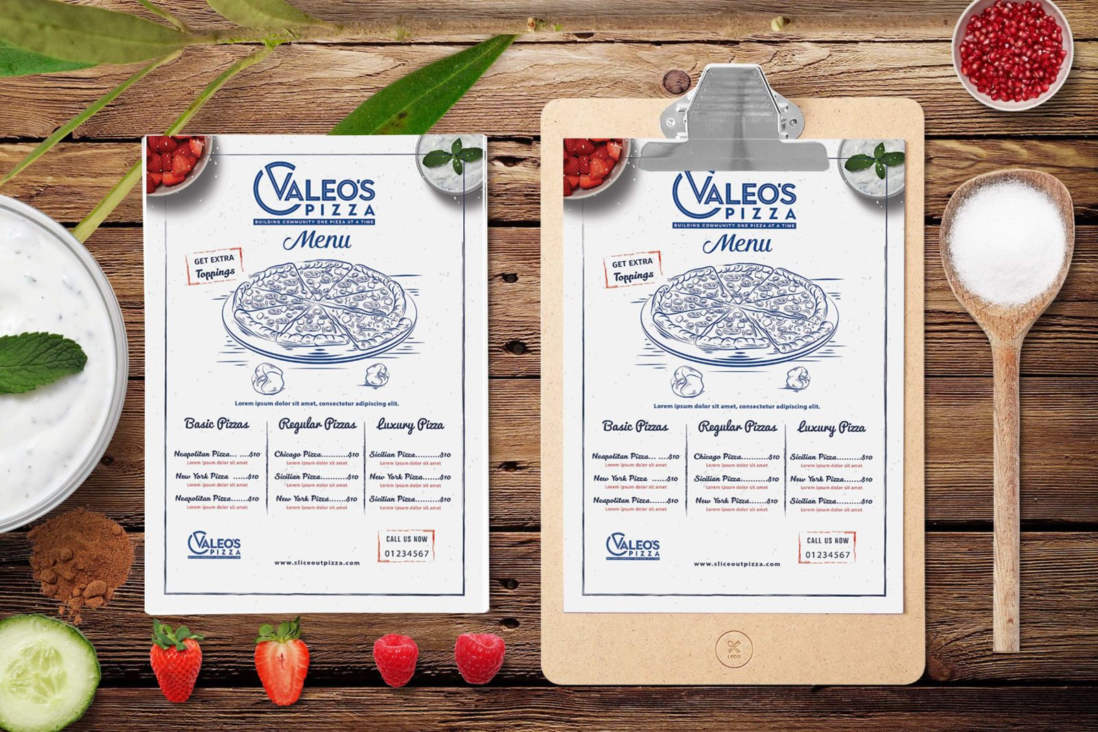 Prime Valeos Pizza Restaurant Menu PSD Template