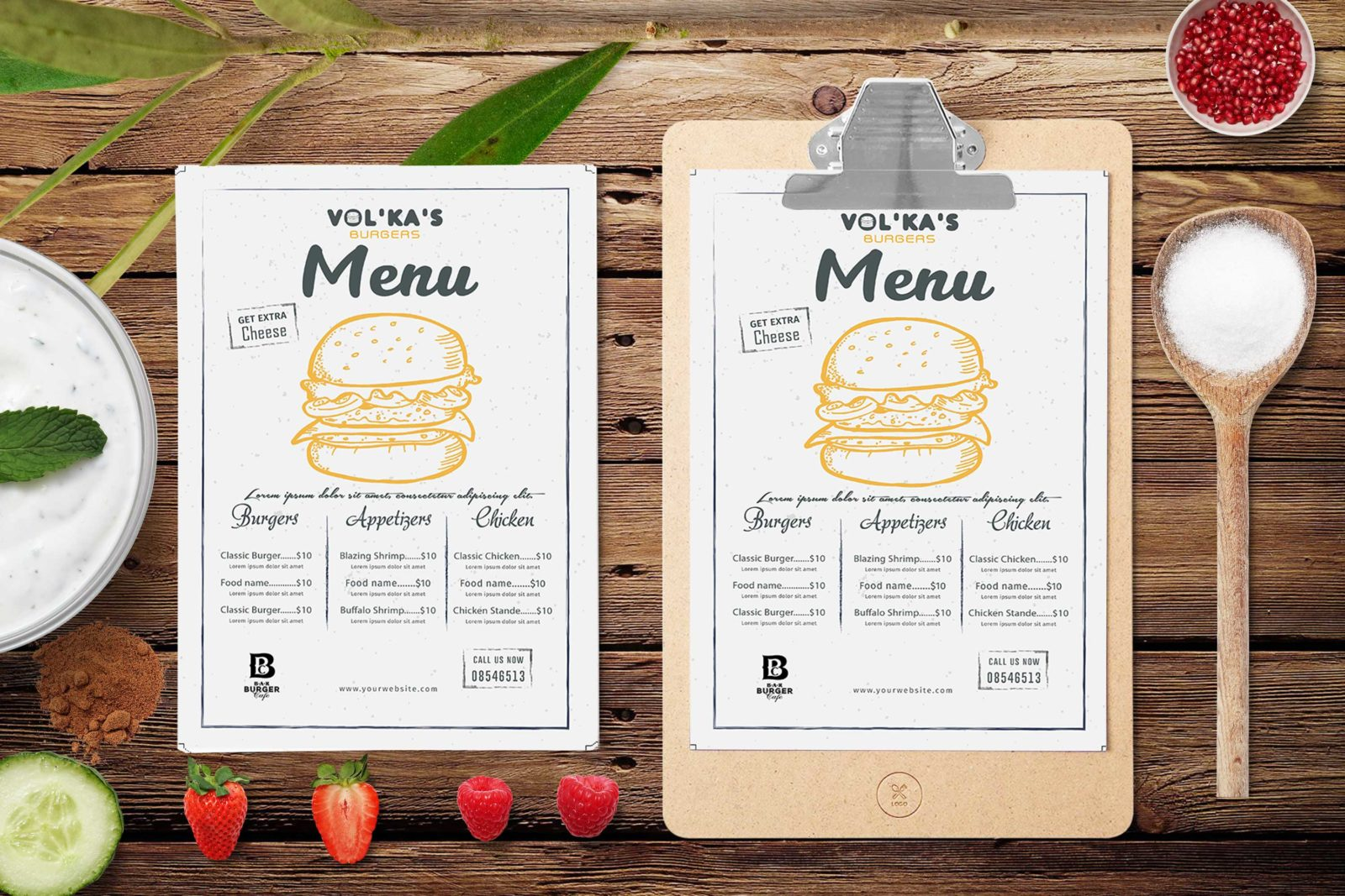 Prime Volka's Burger Centre PSD Menu Template
