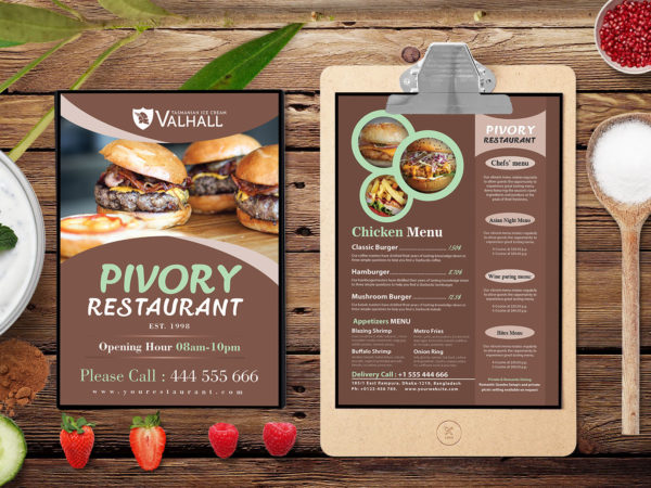 Restaurant A4 Two Side Menu PSD Template