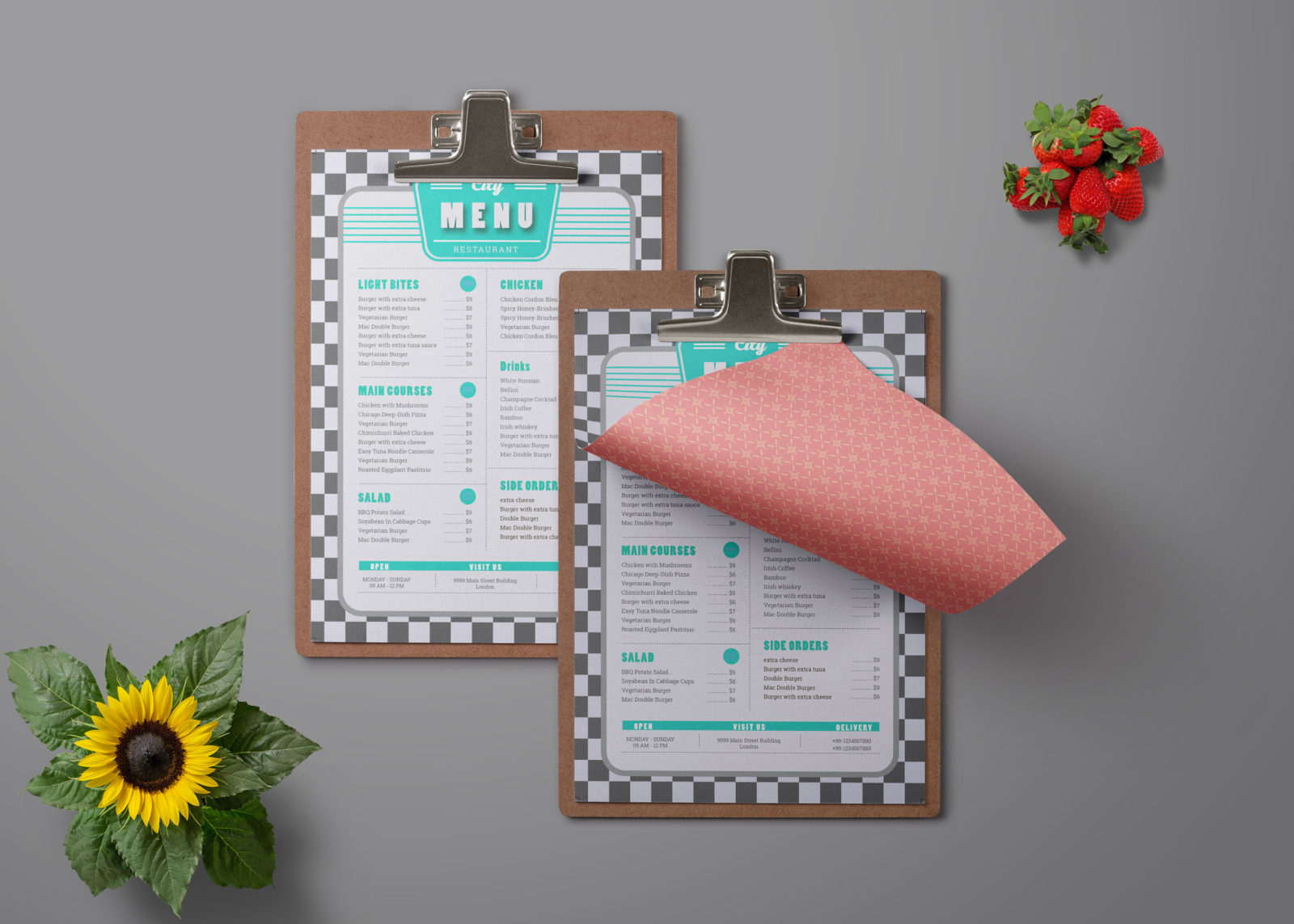 Single Page Restaurant Menu Card PSD Template