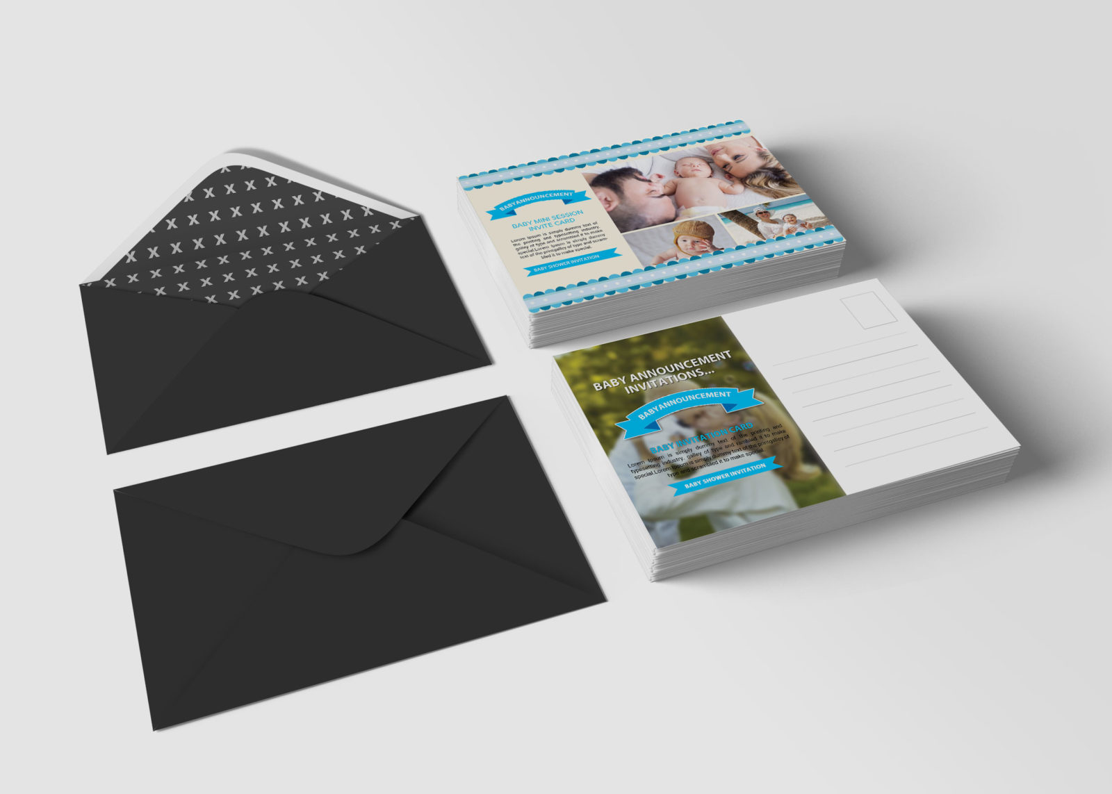 Baby Announcement Postcard Design Template