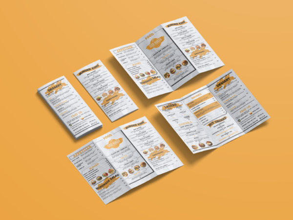 Attractive Cafe Menu Bi-Fold Brochure Design Template