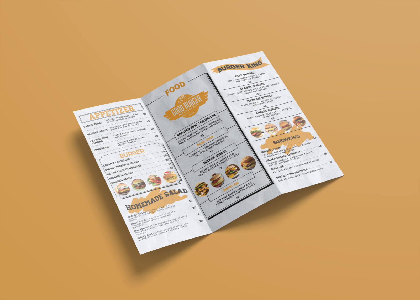 Attractive Menu Bi-Fold Brochure Design Template